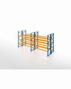Palettenregal, Doppelregal, 4 Lagerebenen, H3500xB7500xT2x1100 mm, Fachlast 3000 kg, 64 Palettenplätze, Rahmen blau, Traverse orange