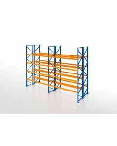 Palettenregal, Doppelregal, 5 Lagerebenen, H3500xB7500xT2x1100 mm, Fachlast 3000 kg, 80 Palettenplätze, Rahmen blau, Traverse orange