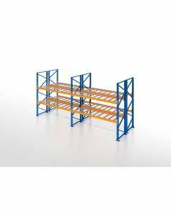 Palettenregal, Doppelregal mit Gitterboden, 3 Lagerebenen, H3500xB7500xT2x1100 mm, Fachlast 3000 kg, 48 Palettenplätze, Rahmen blau, Traverse orange