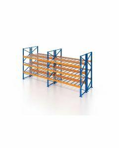 Palettenregal, Doppelregal mit Gitterboden, 4 Lagerebenen, H3500xB7500xT2x1100 mm, Fachlast 3000 kg, 64 Palettenplätze, Rahmen blau, Traverse orange