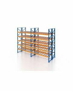 Palettenregal, Doppelregal mit Gitterboden, 6 Lagerebenen, H3500xB7500xT2x1100 mm, Fachlast 3000 kg, 96 Palettenplätze, Rahmen blau, Traverse orange