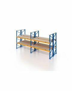 Palettenregal, Doppelregal mit Spanplatten, 3 Lagerebenen, H3500xB5700xT2x1100 mm, Fachlast 3000 kg, 36 Palettenplätze, Rahmen blau, Traverse orange