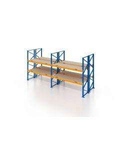 Palettenregal, Doppelregal mit Spanplatten, 3 Lagerebenen, H4000xB5700xT2x1100 mm, Fachlast 3800 kg, 36 Palettenplätze, Rahmen blau, Traverse orange