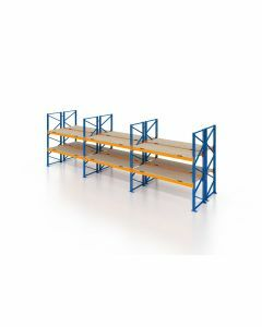 Palettenregal, Doppelregal mit Spanplatten, 3 Lagerebenen, H4000xB8500xT2x1100 mm, Fachlast 3000 kg, 54 Palettenplätze, Rahmen blau, Traverse orange