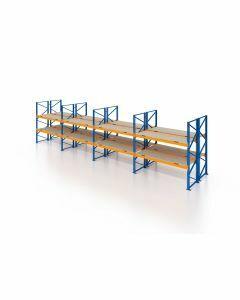 Palettenregal, Doppelregal mit Spanplatten, 3 Lagerebenen, H3500xB10425xT2x1100 mm, Fachlast 3000 kg, 66 Palettenplätze, Rahmen blau, Traverse orange