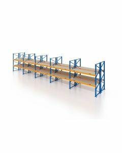 Palettenregal, Doppelregal mit Spanplatten, 3 Lagerebenen, H3500xB14100xT2x1100 mm, Fachlast 3000 kg, 90 Palettenplätze, Rahmen blau, Traverse orange