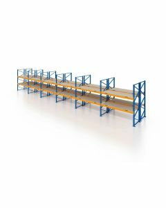 Palettenregal, Doppelregal mit Spanplatten, 3 Lagerebenen, H4000xB16900xT2x1100 mm, Fachlast 3000 kg, 108 Palettenplätze, Rahmen blau, Traverse orange