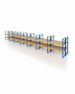 Palettenregal, Doppelregal mit Spanplatten, 3 Lagerebenen, H3500xB19700xT2x1100 mm, Fachlast 3000 kg, 126 Palettenplätze, Rahmen blau, Traverse orange
