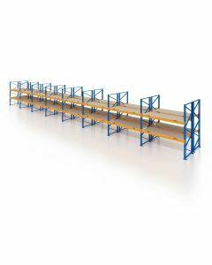 Palettenregal, Doppelregal mit Spanplatten, 3 Lagerebenen, H4000xB22500xT2x1100 mm, Fachlast 3000 kg, 144 Palettenplätze, Rahmen blau, Traverse orange
