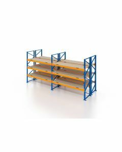 Palettenregal, Doppelregal mit Spanplatten, 4 Lagerebenen, H4000xB5700xT2x1100 mm, Fachlast 3000 kg, 48 Palettenplätze, Rahmen blau, Traverse orange