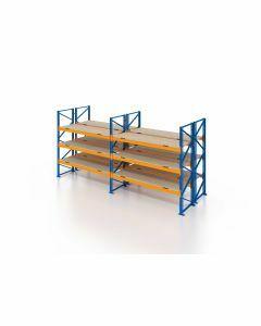 Palettenregal, Doppelregal mit Spanplatten, 4 Lagerebenen, H4000xB7500xT2x1100 mm, Fachlast 3000 kg, 64 Palettenplätze, Rahmen blau, Traverse orange