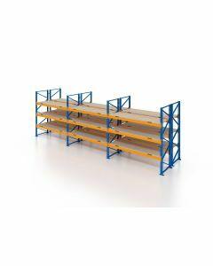 Palettenregal, Doppelregal mit Spanplatten, 4 Lagerebenen, H4000xB8500xT2x1100 mm, Fachlast 3800 kg, 72 Palettenplätze, Rahmen blau, Traverse orange