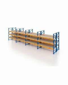 Palettenregal, Doppelregal mit Spanplatten, 4 Lagerebenen, H4000xB10425xT2x1100 mm, Fachlast 3800 kg, 88 Palettenplätze, Rahmen blau, Traverse orange