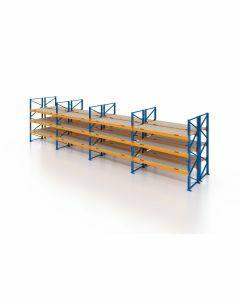 Palettenregal, Doppelregal mit Spanplatten, 4 Lagerebenen, H4000xB11300xT2x1100 mm, Fachlast 3800 kg, 96 Palettenplätze, Rahmen blau, Traverse orange