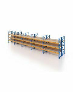 Palettenregal, Doppelregal mit Spanplatten, 4 Lagerebenen, H3500xB14100xT2x1100 mm, Fachlast 3000 kg, 120 Palettenplätze, Rahmen blau, Traverse orange