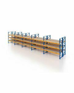 Palettenregal, Doppelregal mit Spanplatten, 4 Lagerebenen, H4000xB13225xT2x1100 mm, Fachlast 3800 kg, 112 Palettenplätze, Rahmen blau, Traverse orange