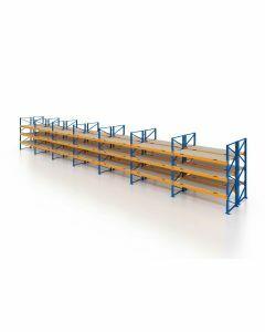 Palettenregal, Doppelregal mit Spanplatten, 4 Lagerebenen, H3500xB19700xT2x1100 mm, Fachlast 3000 kg, 168 Palettenplätze, Rahmen blau, Traverse orange