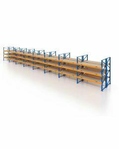 Palettenregal, Doppelregal mit Spanplatten, 4 Lagerebenen, H4000xB22500xT2x1100 mm, Fachlast 3000 kg, 192 Palettenplätze, Rahmen blau, Traverse orange