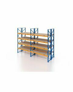 Palettenregal, Doppelregal mit Spanplatten, 5 Lagerebenen, H3500xB5700xT2x1100 mm, Fachlast 3000 kg, 60 Palettenplätze, Rahmen blau, Traverse orange