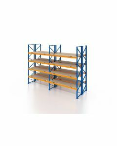 Palettenregal, Doppelregal mit Spanplatten, 5 Lagerebenen, H4000xB3950xT2x1100 mm, Fachlast 3000 kg, 40 Palettenplätze, Rahmen blau, Traverse orange