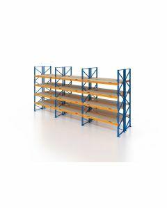 Palettenregal, Doppelregal mit Spanplatten, 5 Lagerebenen, H4000xB8500xT2x1100 mm, Fachlast 3000 kg, 90 Palettenplätze, Rahmen blau, Traverse orange