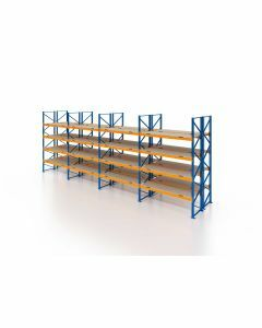 Palettenregal, Doppelregal mit Spanplatten, 5 Lagerebenen, H4000xB9550xT2x1100 mm, Fachlast 3000 kg, 100 Palettenplätze, Rahmen blau, Traverse orange