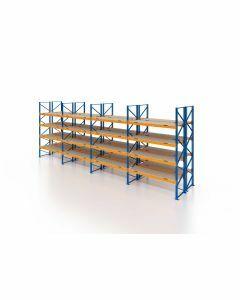 Palettenregal, Doppelregal mit Spanplatten, 5 Lagerebenen, H4000xB11300xT2x1100 mm, Fachlast 3800 kg, 120 Palettenplätze, Rahmen blau, Traverse orange
