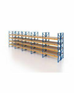 Palettenregal, Doppelregal mit Spanplatten, 5 Lagerebenen, H3500xB14100xT2x1100 mm, Fachlast 3000 kg, 150 Palettenplätze, Rahmen blau, Traverse orange