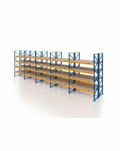 Palettenregal, Doppelregal mit Spanplatten, 5 Lagerebenen, H4000xB13225xT2x1100 mm, Fachlast 3800 kg, 140 Palettenplätze, Rahmen blau, Traverse orange