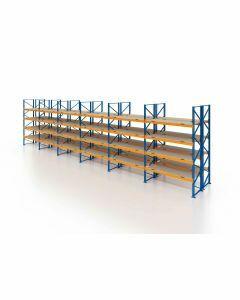 Palettenregal, Doppelregal mit Spanplatten, 5 Lagerebenen, H4000xB16900xT2x1100 mm, Fachlast 3000 kg, 180 Palettenplätze, Rahmen blau, Traverse orange