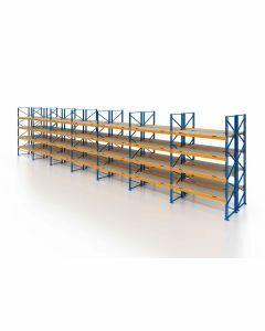 Palettenregal, Doppelregal mit Spanplatten, 5 Lagerebenen, H3500xB19700xT2x1100 mm, Fachlast 3000 kg, 210 Palettenplätze, Rahmen blau, Traverse orange