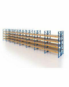 Palettenregal, Doppelregal mit Spanplatten, 5 Lagerebenen, H4000xB22500xT2x1100 mm, Fachlast 3000 kg, 240 Palettenplätze, Rahmen blau, Traverse orange