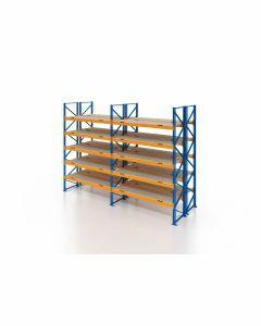 Palettenregal, Doppelregal mit Spanplatten, 6 Lagerebenen, H3500xB5700xT2x1100 mm, Fachlast 3000 kg, 72 Palettenplätze, Rahmen blau, Traverse orange