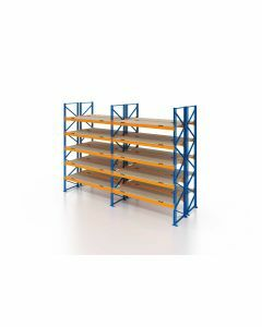 Palettenregal, Doppelregal mit Spanplatten, 6 Lagerebenen, H4000xB7500xT2x1100 mm, Fachlast 4700 kg, 96 Palettenplätze, Rahmen blau, Traverse orange