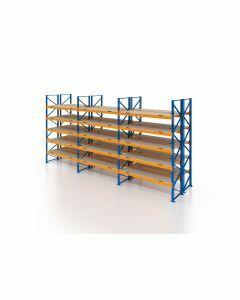 Palettenregal, Doppelregal mit Spanplatten, 6 Lagerebenen, H4000xB8500xT2x1100 mm, Fachlast 3800 kg, 108 Palettenplätze, Rahmen blau, Traverse orange