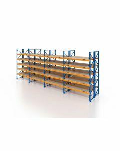 Palettenregal, Doppelregal mit Spanplatten, 6 Lagerebenen, H4000xB11300xT2x1100 mm, Fachlast 3800 kg, 144 Palettenplätze, Rahmen blau, Traverse orange