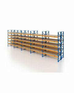 Palettenregal, Doppelregal mit Spanplatten, 6 Lagerebenen, H4000xB13225xT2x1100 mm, Fachlast 3800 kg, 168 Palettenplätze, Rahmen blau, Traverse orange
