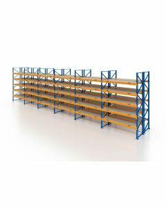 Palettenregal, Doppelregal mit Spanplatten, 6 Lagerebenen, H4000xB16900xT2x1100 mm, Fachlast 3000 kg, 216 Palettenplätze, Rahmen blau, Traverse orange