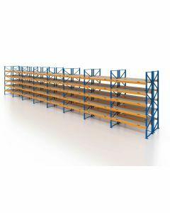Palettenregal, Doppelregal mit Spanplatten, 6 Lagerebenen, H4000xB22500xT2x1100 mm, Fachlast 3000 kg, 288 Palettenplätze, Rahmen blau, Traverse orange