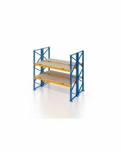 Palettenregal, Doppelregal mit Spanplatten, 3 Lagerebenen, H4000xB1825xT2x1100 mm, Fachlast 3000 kg, 6 Palettenplätze, Rahmen blau, Traverse orange