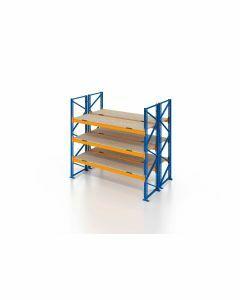Palettenregal, Doppelregal mit Spanplatten, 4 Lagerebenen, H4000xB1825xT2x1100 mm, Fachlast 3000 kg, 8 Palettenplätze, Rahmen blau, Traverse orange
