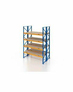 Palettenregal, Doppelregal mit Spanplatten, 5 Lagerebenen, H4000xB1825xT2x1100 mm, Fachlast 3000 kg, 10 Palettenplätze, Rahmen blau, Traverse orange