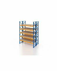 Palettenregal, Doppelregal mit Spanplatten, 6 Lagerebenen, H4000xB1825xT2x1100 mm, Fachlast 3000 kg, 12 Palettenplätze, Rahmen blau, Traverse orange