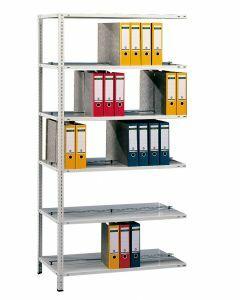 Büroregal, Anbaufeld, Schraubystem - beidseitig nutzbar ohne Mittelanschlag, H1800xB750xT600 mm, RAL 7035 lichtgrau