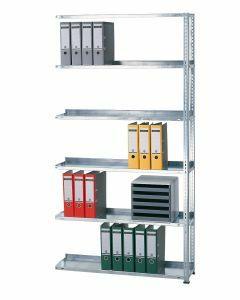 Büroregal, Anbaufeld, Schraubystem - einseitig nutzbar mit Anschlagleiste, H2300xB1000xT300 mm, sendzimirverzinkt