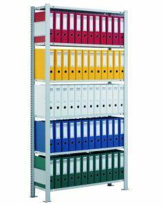 Büroregal, Grundfeld, Stecksystem - einseitig nutzbar mit Anschlagleiste, H1800xB750xT300 mm, sendzimirverzinkt