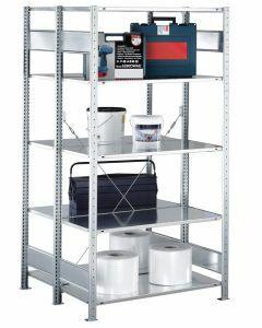 Doppelregal Stecksystem, Grundregal, mit Kreuzstrebe, H2000xB1000xT2x300 mm, Fachlast 150 kg, sendzimirverzinkt
