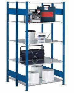 Doppelregal Stecksystem, Grundregal, mit Kreuzstrebe, H2000xB1000xT2x500 mm, Fachlast 150 kg, RAL 5010 / enzianblau