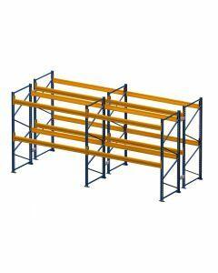 Palettenregal, Doppelregal, 3 Lagerebenen, H3500xB7500xT2x1100 mm, Fachlast 3000 kg, 48 Palettenplätze, Rahmen blau, Traverse orange