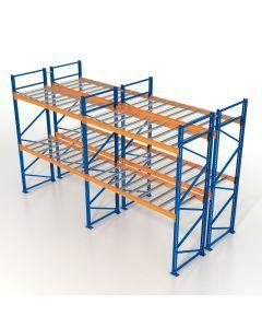 Palettenregal, Doppelregal mit Gitterböden, 3 Lagerebenen, H3500xB8500xT2x1100 mm, Fachlast 3800 kg, 54 Palettenplätze, Rahmen blau, Traverse orange